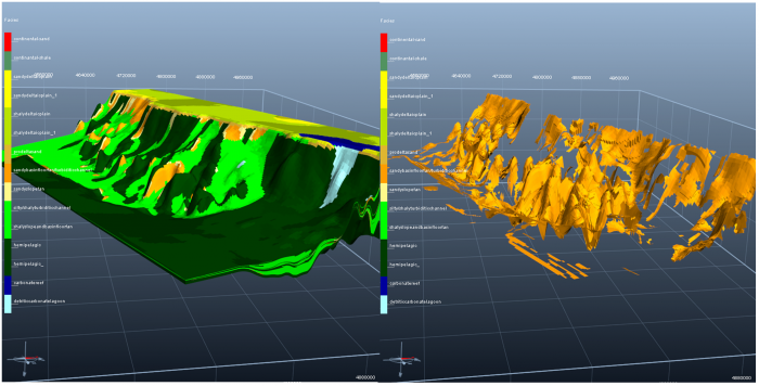 Facies model (left) and focus on basin floor fans and turbiditic channels (right).