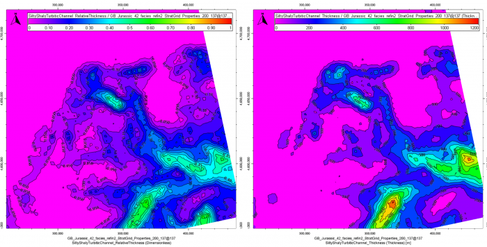 Analysis of silty turbidites distribution within a given sequence: NTG (left) and total thickness in meter (right).